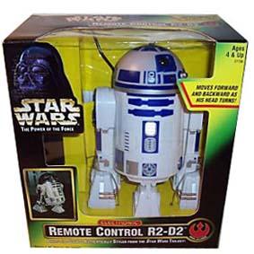 R2D2 controle remoto com fio (gira a cabeça, anda para frente/trás) som e luz
