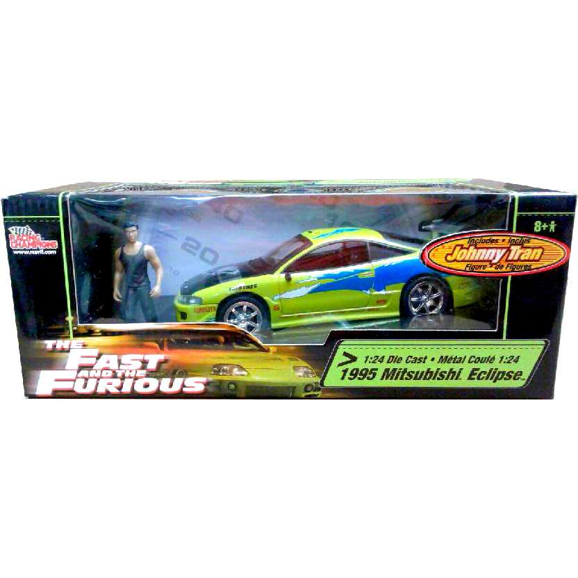 Racing Champions Fast and Furious 1995 Mitsubishi Eclipse + Johnny Tran figure escala 1/24