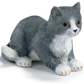 Schleich do Brasil Miniatura de Gato 14411 Gato cinzento Kitten lying