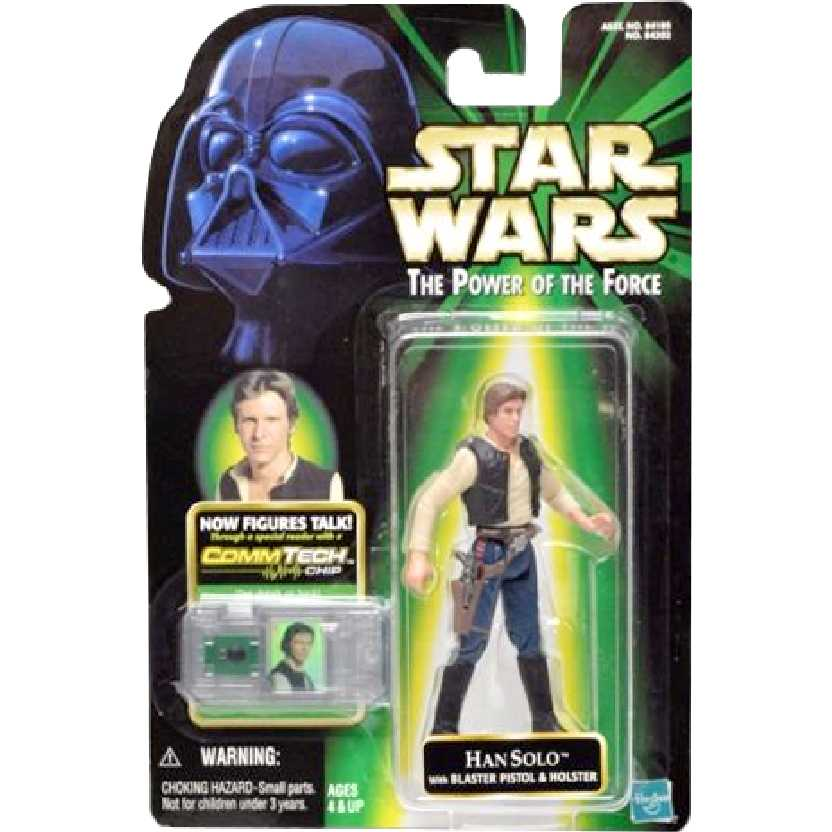 Star Wars The Power of the Force Han Solo + CommTech Chip Hasbro Action Figure