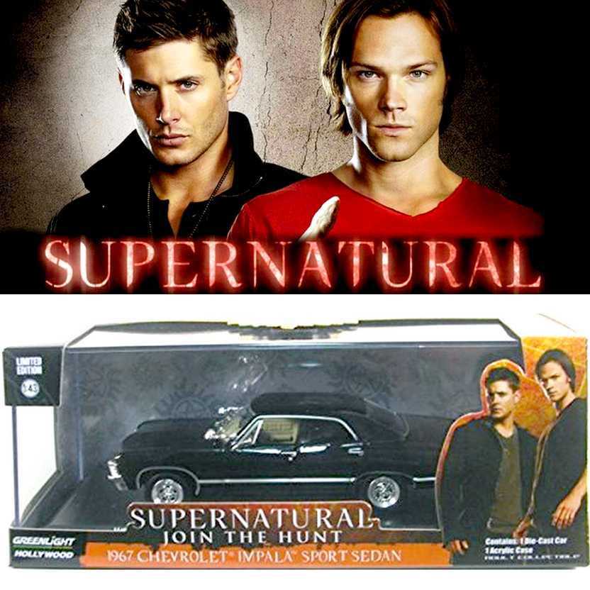 Supernatural Chevrolet Impala preto 4 portas (1967) Greenlight escala 1/43