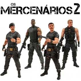 The Expendables 2 action figures - 4 bonecos do filme Os Mercenários 2