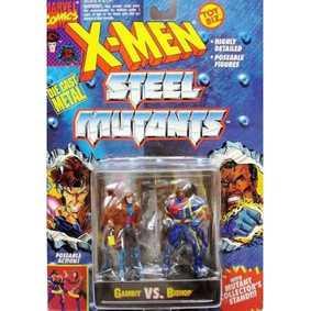 Toy Biz Boneco Marvel Gambit vs. Bishop ( X-Men Steel Mutants Die Cast)