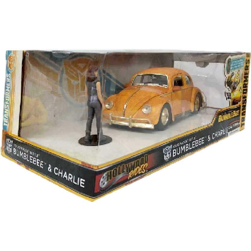 Transformers Charlie + Fusca Bumblebee Volkswagen Beetle Hollywood Rides Jada escala 1/24