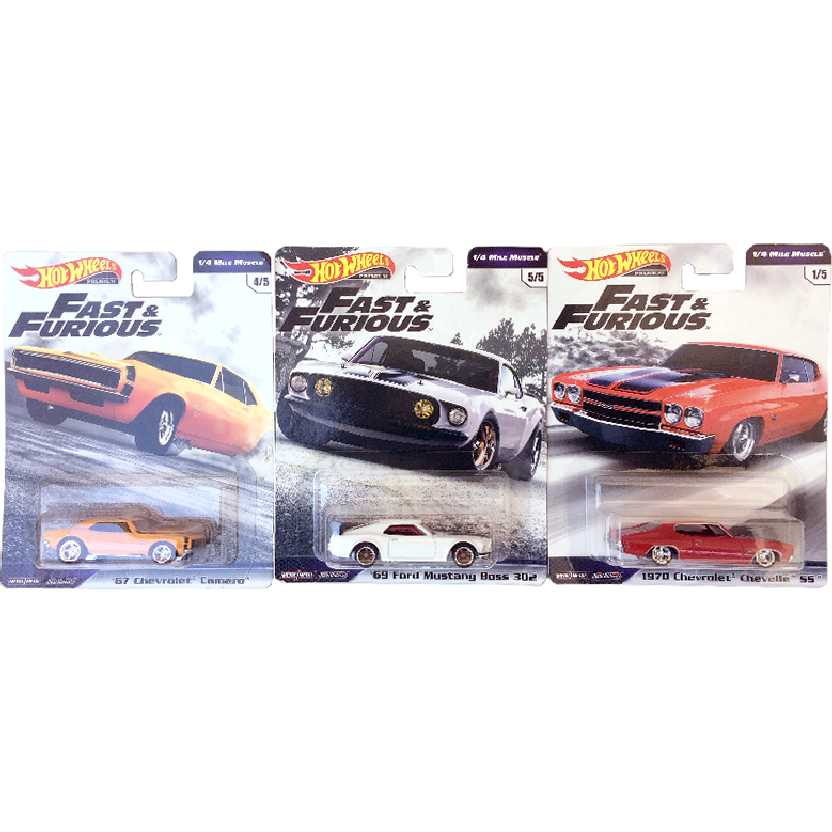 Trio Hot Wheels Premium Velozes e Furiosos Set Fast & Furious 1/4 Mile Muscle