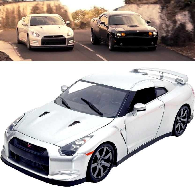 Velozes & Furiosos 6 Nissan GT-R prata (R35) Carro do Brian: Fast and Furious Jada escala 1/18