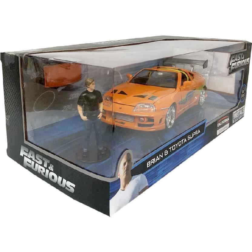 Velozes e Furiosos Brian O Conner + Toyota Supra laranja (1995) Jada escala 1/24
