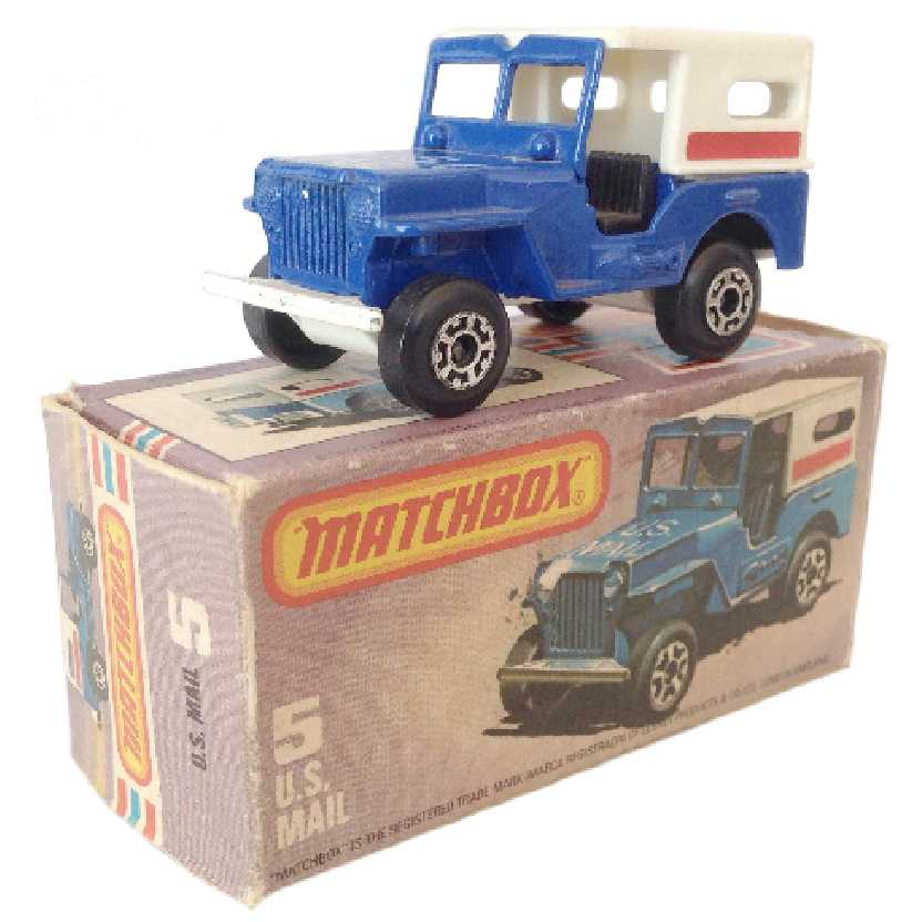 Vintage 1976 Matchbox anos 70 Lesney Antigo 75 #5 Jeep U.S. Mail Truck escala 1/64