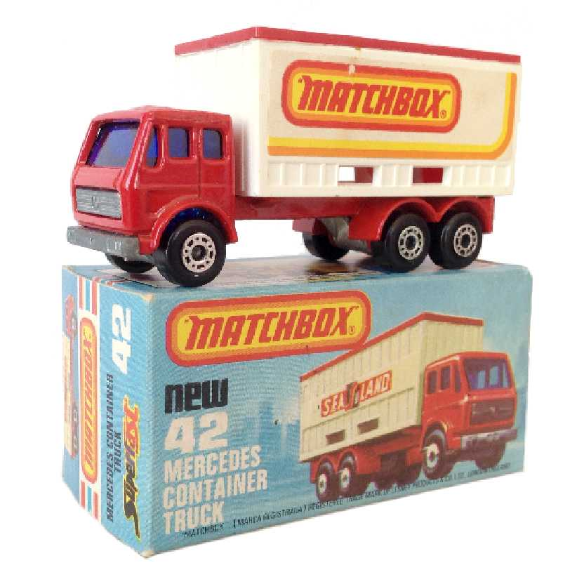 Vintage 1976 Matchbox Lesney Antigo 75 #42 Mercedes Container Truck escala 1/64