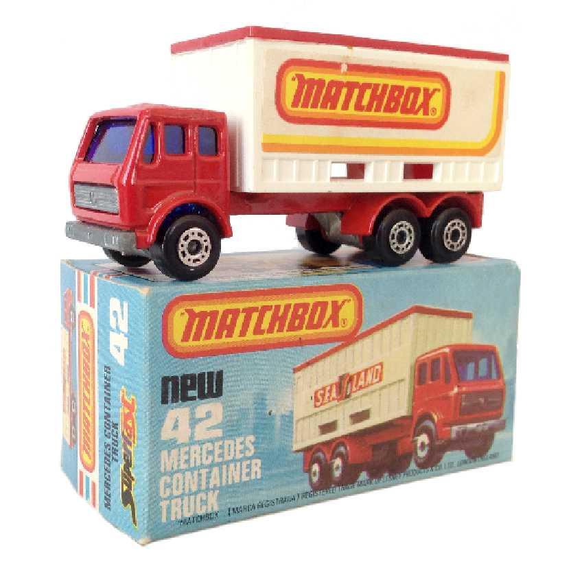 Vintage 1976 Matchbox Lesney Antigo 75 #42 Mercedes Container Truck escala 1/64
