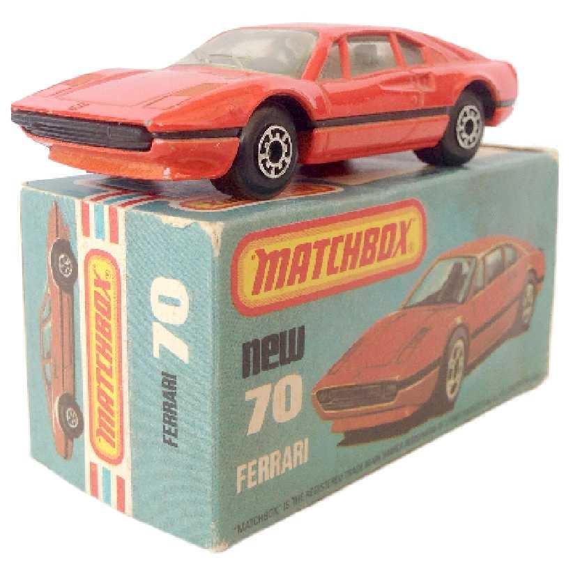 Vintage 1981 Matchbox anos 80 Lesney Antigo 75 #70 Ferrari 308 GTB escala 1/64