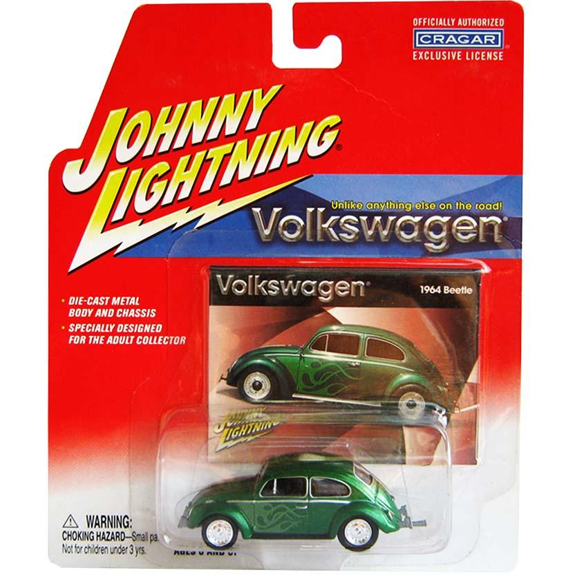 Volkswagen Fusca verde metálico (1964) VW Beetle Johnny Lightning Diecast