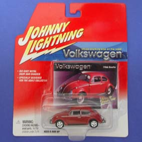 Volkswagen Fusca Vermelho (1966) VW Beetle Johnny Lightning escala 1/64