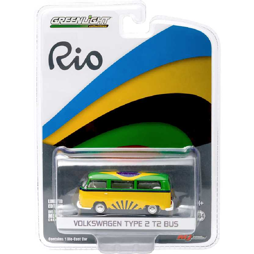 Volkswagen Kombi Olimpíadas do RIO Brasil VW Type 2 T2 Bus Greenlight escala 1/64 RARO