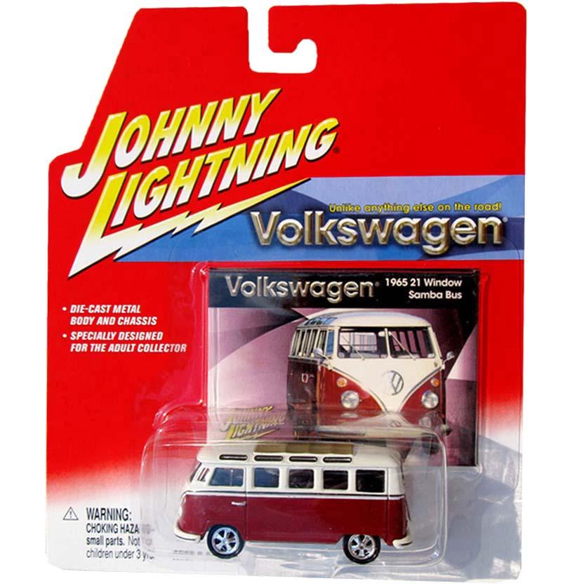 Volkswagen Kombi vinho (1965) VW 21 Window Samba Bus Johnny Lightning escala 1/64