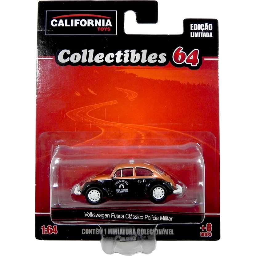 VW Fusca clássico da Polícia Militar California Toys Collectibles series 2 escala 1/64