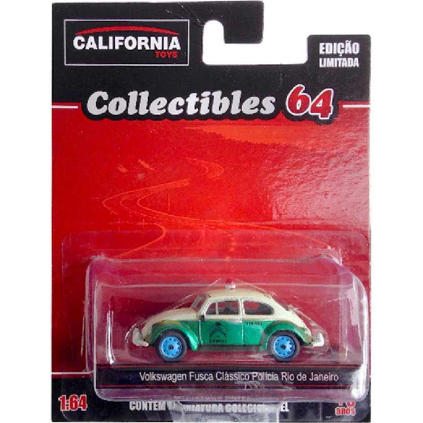 VW Fusca clássico da Polícia Rio de Janeiro Green Machine California Toys escala 1/64