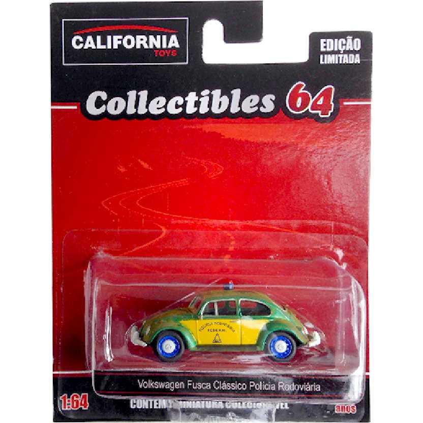VW Fusca clássico da Polícia Rodoviária Green Machine California Toys escala 1/64