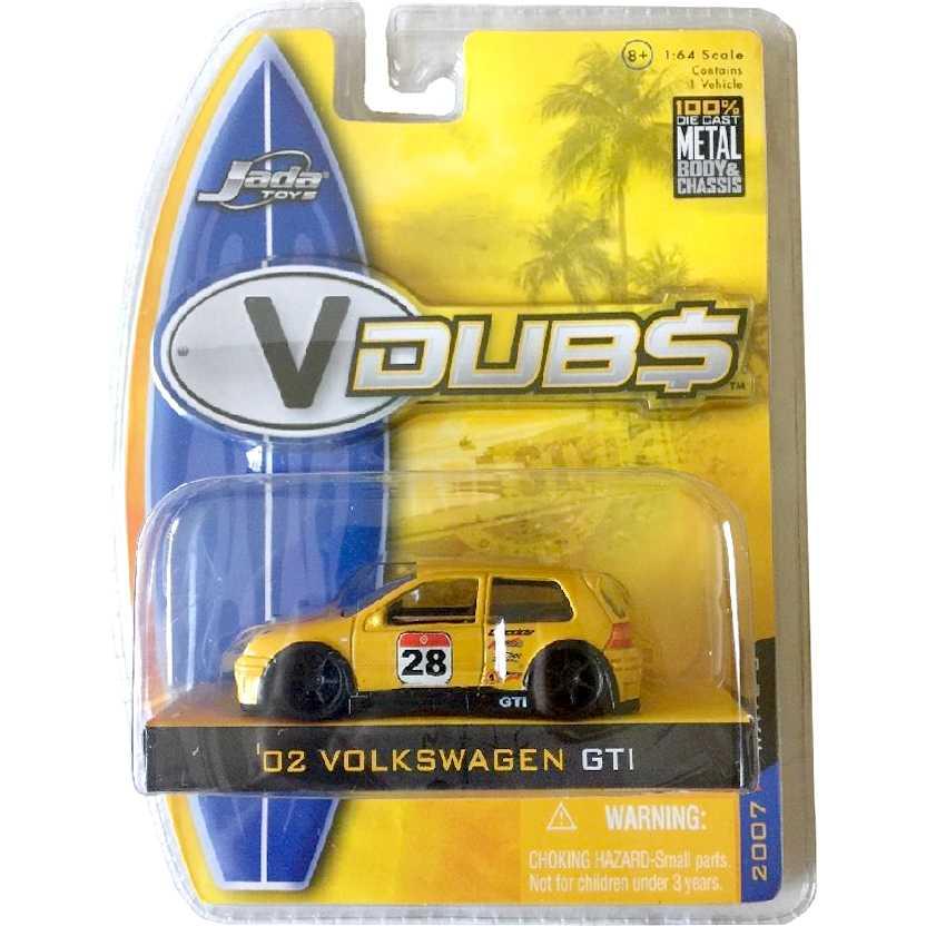 VW Golf GTI amarelo (2002) Volkswagen GTI VDUBS marca Jada Toys escala 1/64
