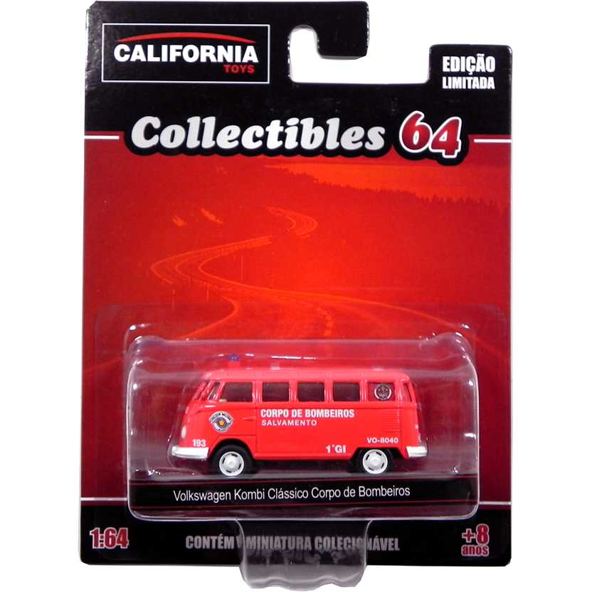 VW Kombi clássico do Corpo de Bombeiros California Toys Collectibles series 2 escala 1/64