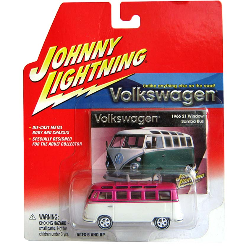 VW Kombi rosa (1966) Volkswagen 21 Window Samba Bus Johnny Lightning escala 1/64