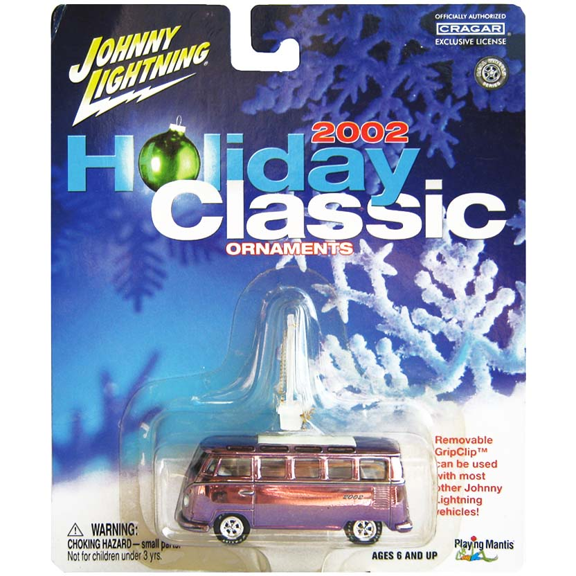 VW Kombi roxa (1966) 21 Window Samba Bus Holiday Classics 2002 Johnny Lightning 1/64