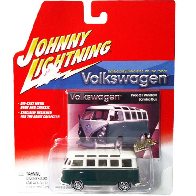 VW Kombi verde (1966) Volkswagen 21 Window Samba Bus Johnny Lightning escala 1/64