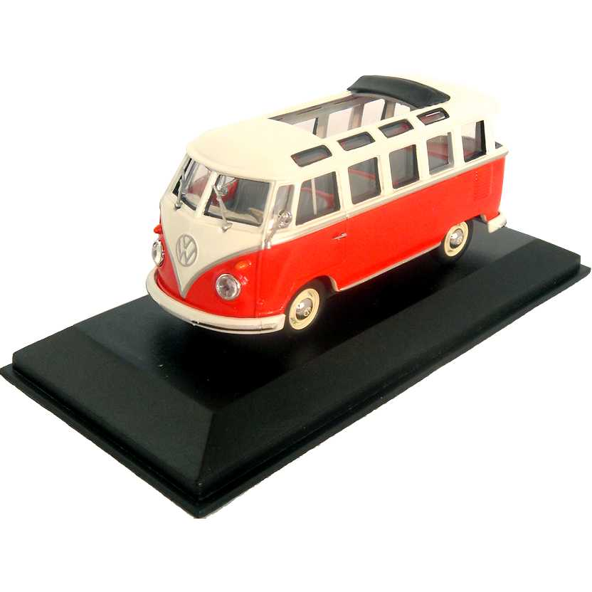 VW Kombi vermelha com teto solar - Volkswagen T1 Samba Bus - Minichamps escala 1/43