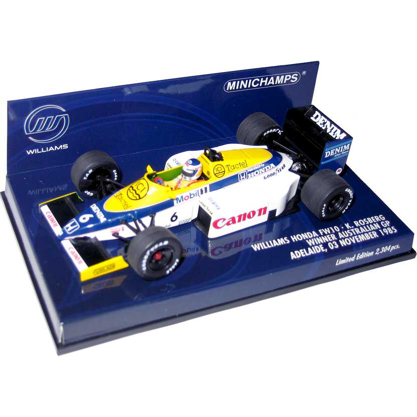 Williams Canon Honda FW10 Keke Rosberg (1985) Minichamps escala 1/43