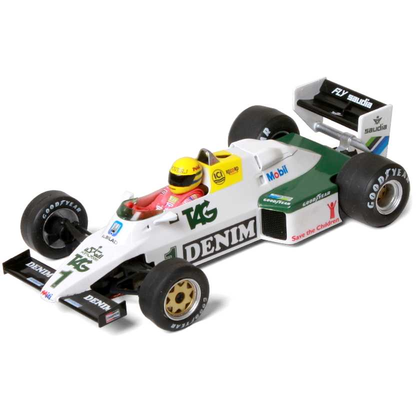 Williams FW08 (Donington Park Test - 1983) Ayrton Senna escala 1/32 com caixa de acrílico