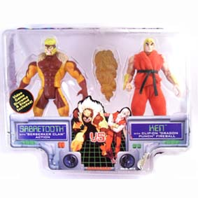 X-men Vs. Street Fighter Sabretooh (dentes De Sabre) Vs. Ken / Toy Biz / Gulliver (aberto)